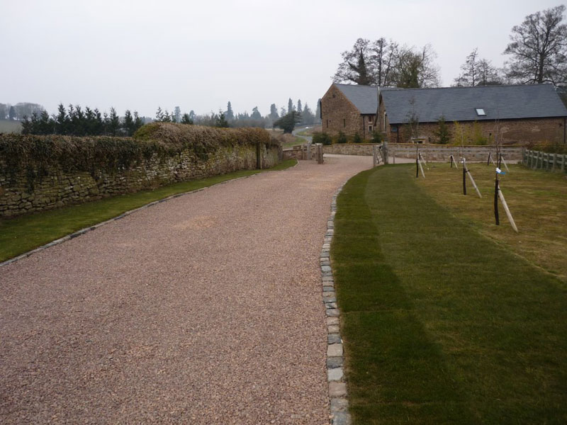 Driveway and soft landscaping entrance to barn conversion.