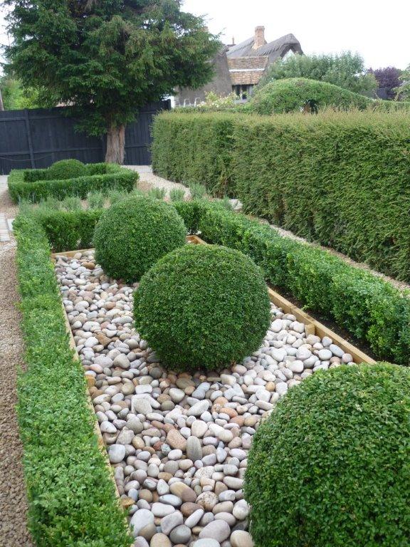 Topiary box hedge & sphere's with cobbles, private garden Cambri