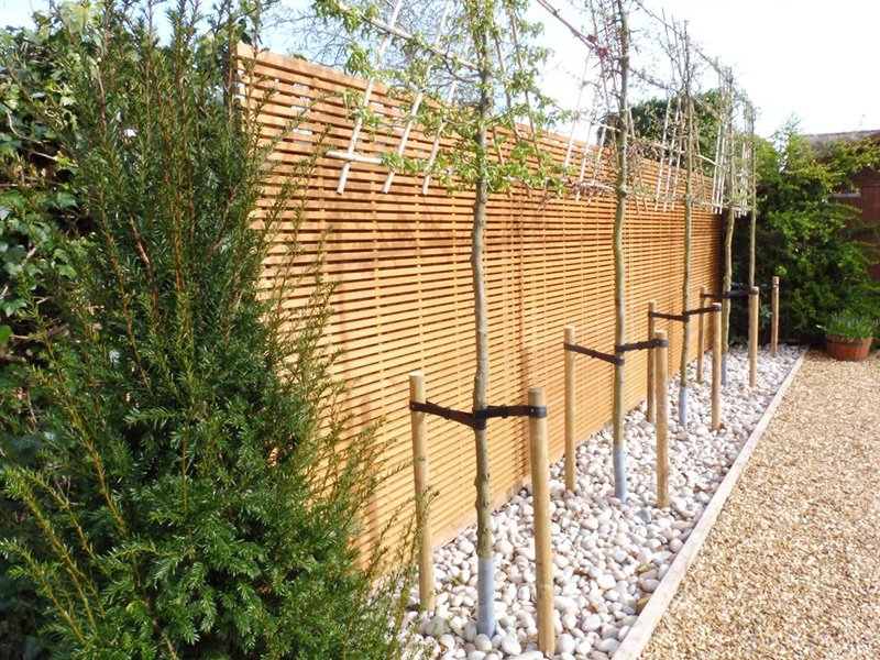 Be-spoke timber screens, pleached hornbeams & cobbles