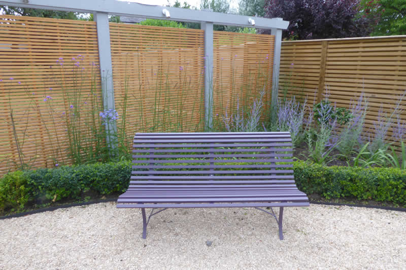 Town House Garden with be-spoke timber screen and purple bench