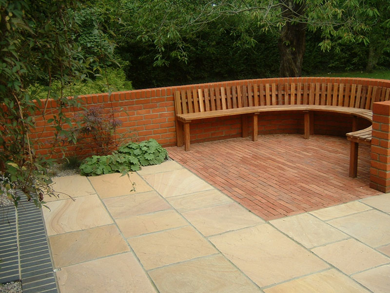 Paving and bespoke hardwood seat