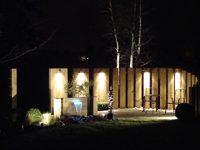 Garden lighting, Oak sleepers & water feature